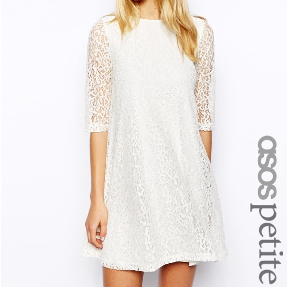1b9b662fbca1 ASOS Petite Dresses | White Lace Swing 34 Sleeve Dress12 | Poshmark